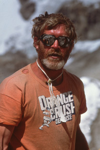 John showing loyalty to the Denver Broncos (AKA 'Orange Crush') at Everest Base Camp.