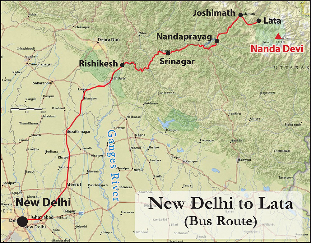 Nanda Devi Bus Route Map New Delhi to Lata