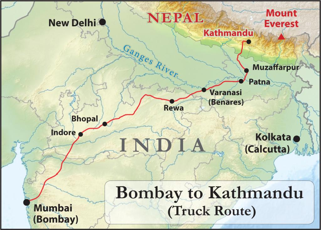 Bombay to Kathmandu (Truck Route)