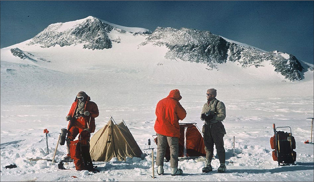 Mt Vinson Camp III with Summit Behind