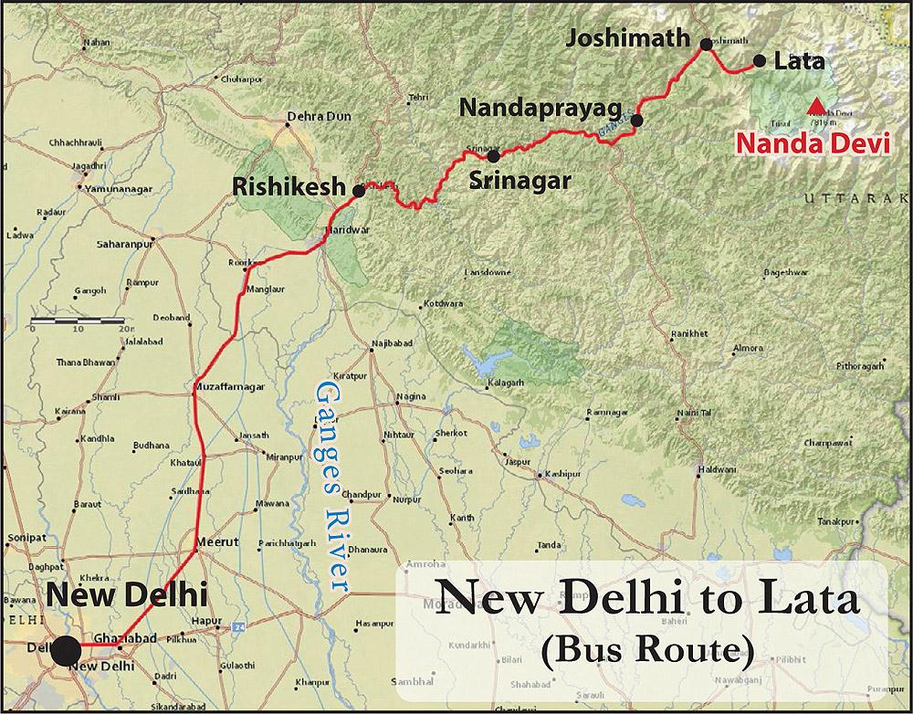 Nanda Devi Bus Route Map New Delhi to Lata