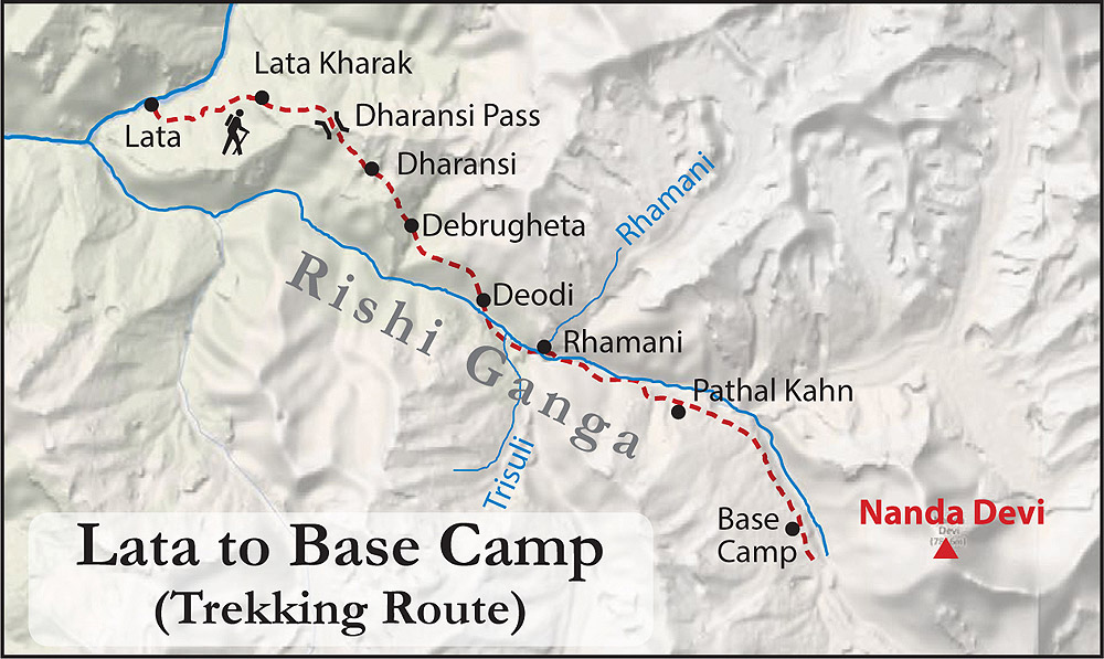 Nanda Devi Trek Map Lata to Base Camp