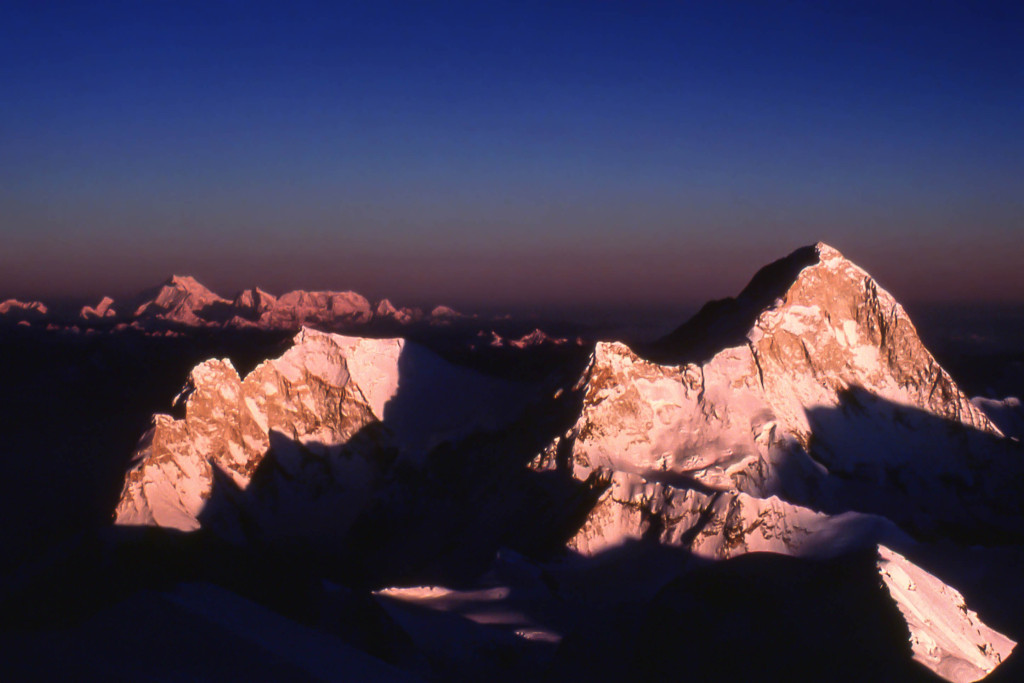 Sunset on Makalu from Mt. Everest.